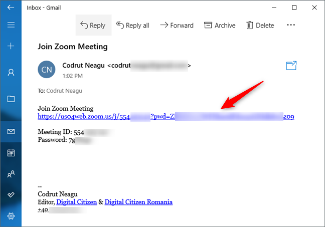 The invitation link to a Zoom meeting