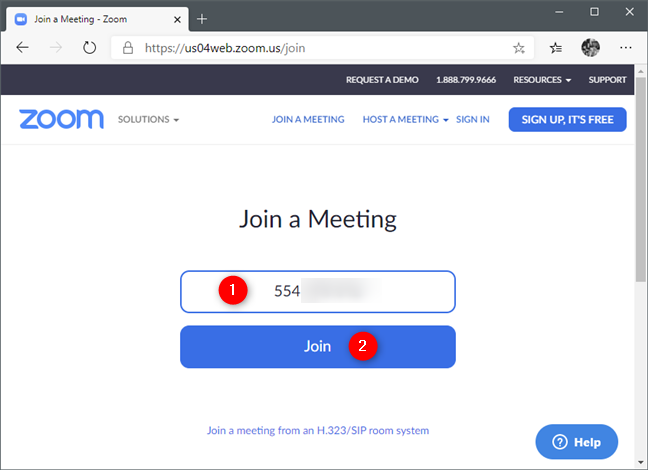 The Join a Meeting webpage on Zoom's website