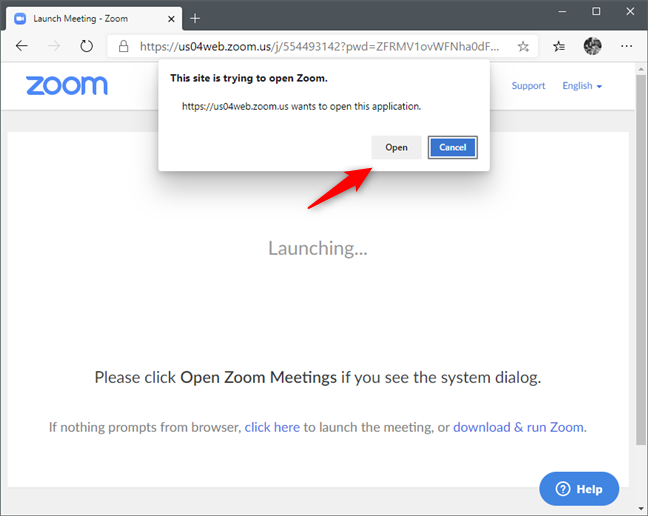 A web browser asking you to open the Zoom meeting link with the Zoom app