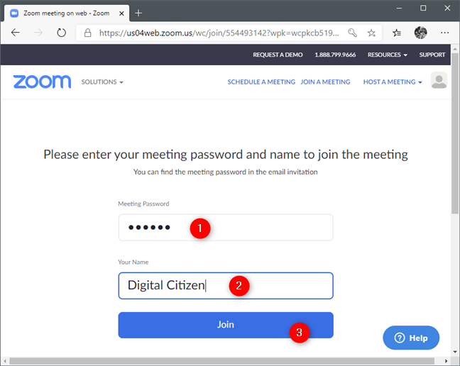 Entering the Zoom meeting ID and choosing your name