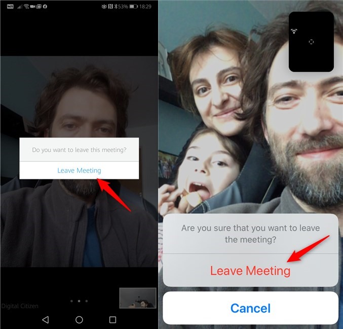 Leaving a Zoom meeting from an Android smartphone and an iPhone