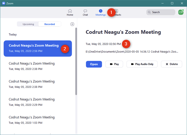 The list of Zoom recorded meetings and their options