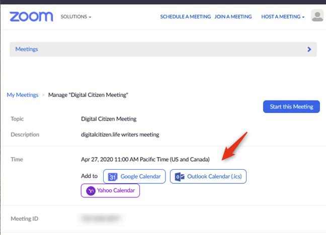 El servicio de calendario que se utilizará para la reunión de Zoom programada