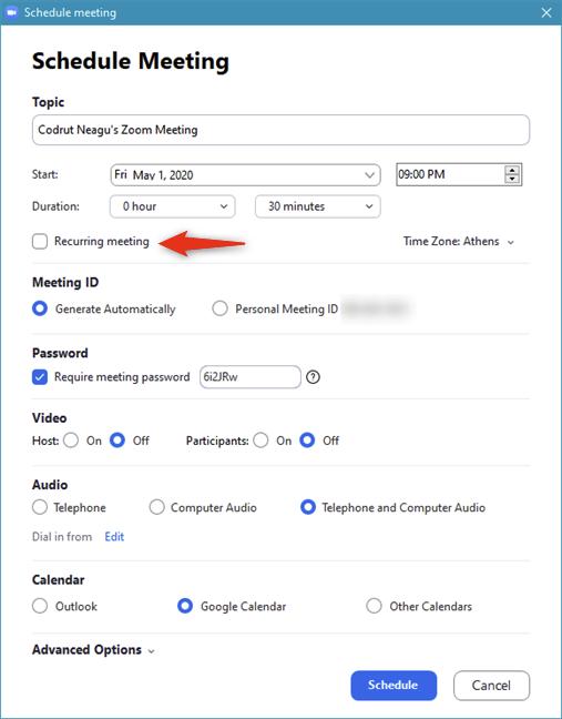 Configurar una reunión de Zoom programada para que se repita