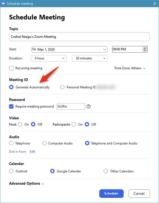 Elegir generar automáticamente una ID de reunión