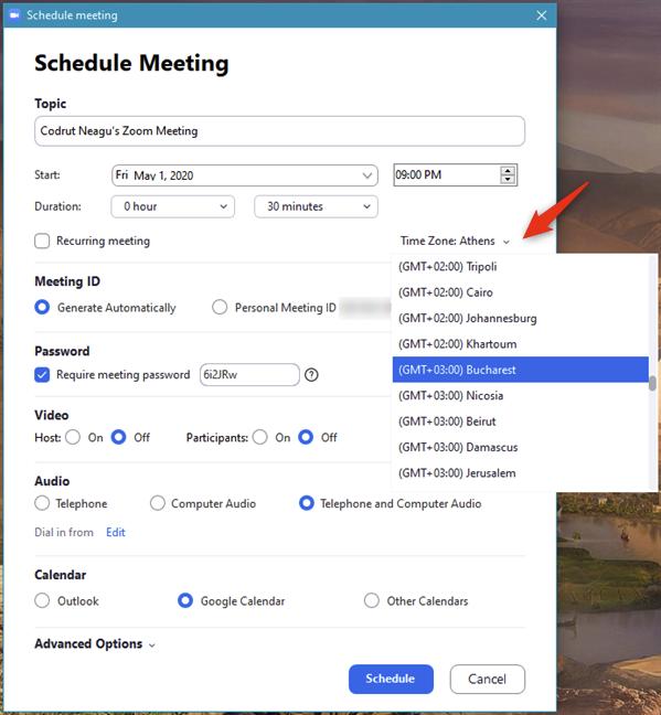 Establecer la zona horaria para una reunión de Zoom programada