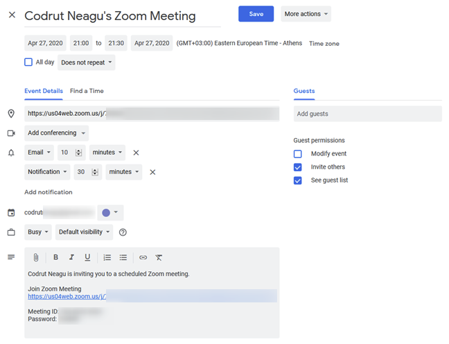 Adding the scheduled Zoom meeting in Google Calendar