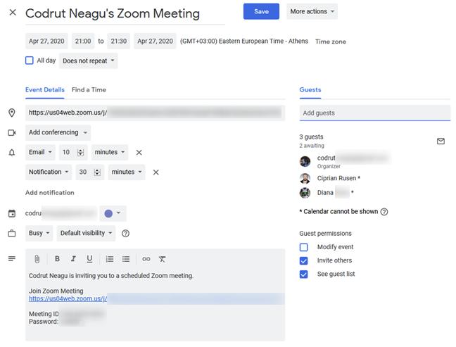 Invitar a personas a la reunión de Zoom programada