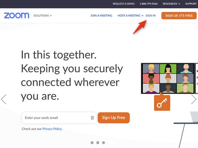 Inicie sesión en el sitio web de Zoom