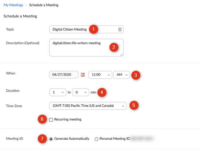 La página web Programar una reunión