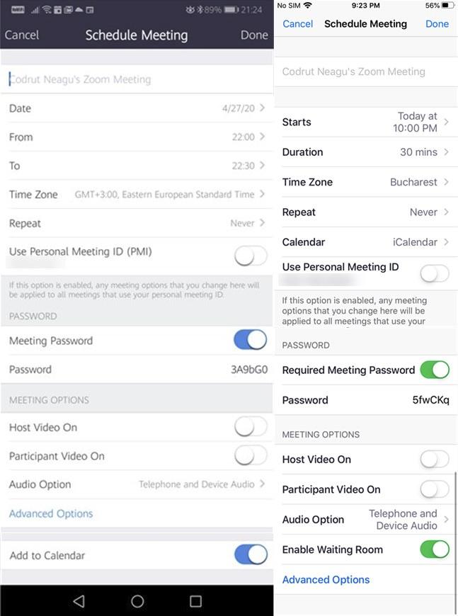 Configuración disponible para la reunión programada en las aplicaciones de Zoom para Android e iOS
