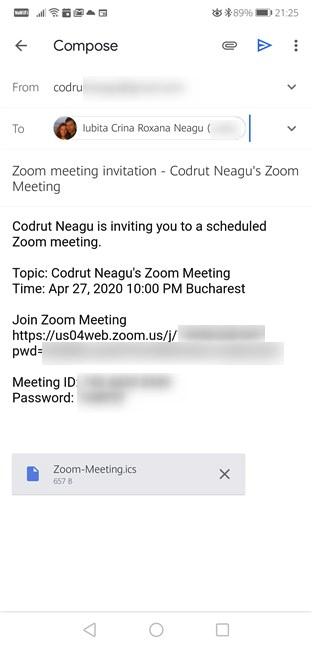 Envío de invitaciones a la reunión de Zoom programada desde Android