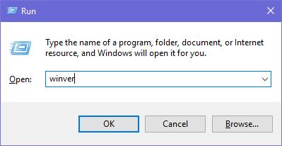 Running winver in Windows 10