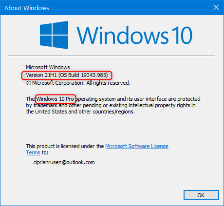 About Windows tells you the Windows 10 version, build, and edition
