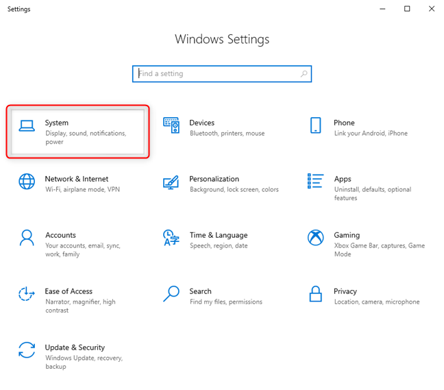 In Windows 10's Settings, go to System