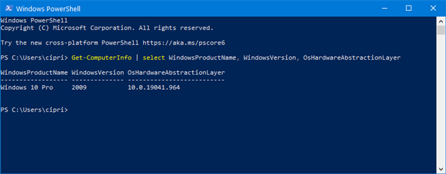 Check the Windows 10 version from PowerShell