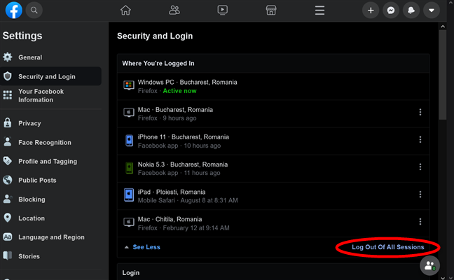 How to log out of all devices on Facebook from your browser