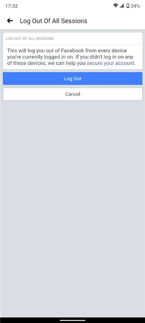 Confirme el cierre de sesión en todos los dispositivos de Facebook excepto en su Android