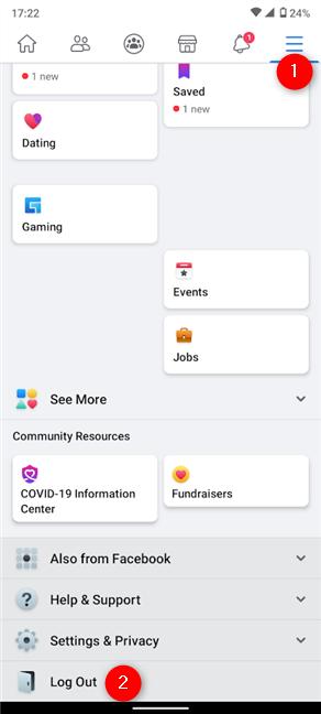 Cómo cerrar sesión en Facebook en la aplicación de Android