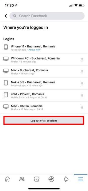 En Facebook, cierre la sesión de todas las sesiones desde iOS