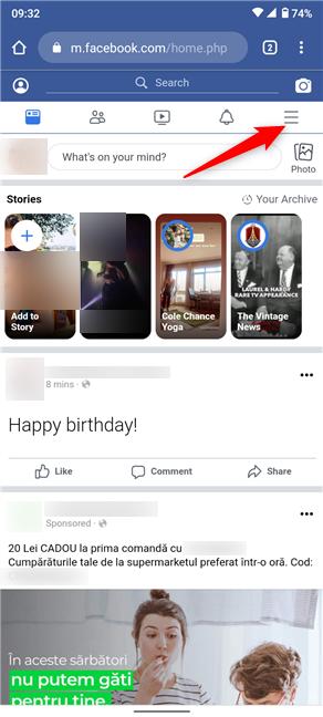 Toque el botón de hamburguesa para cerrar sesión en Facebook desde su navegador móvil