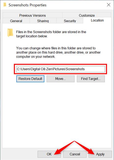 Cambiar el lugar donde se encuentran las capturas de pantalla en Windows 10