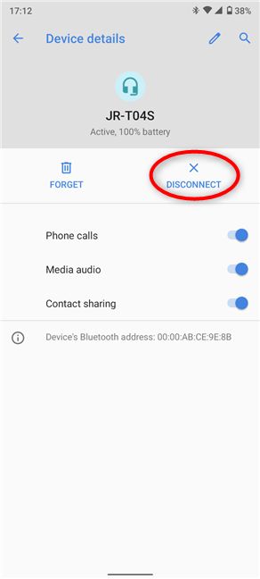 Disconnect or Connect Bluetooth device