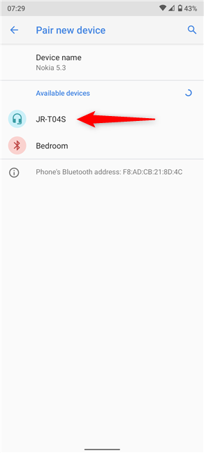 Any Bluetooth enabled devices appear under Available devices