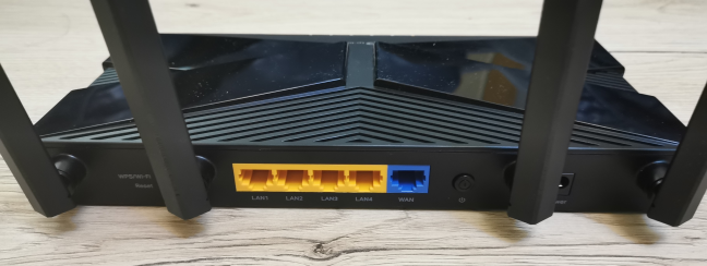 The ports on the back of the TP-Link Archer AX10