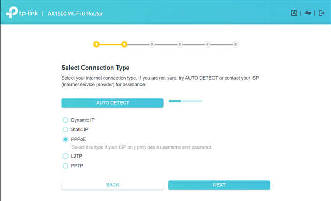 TP-Link Archer AX10 - the quick setup wizard