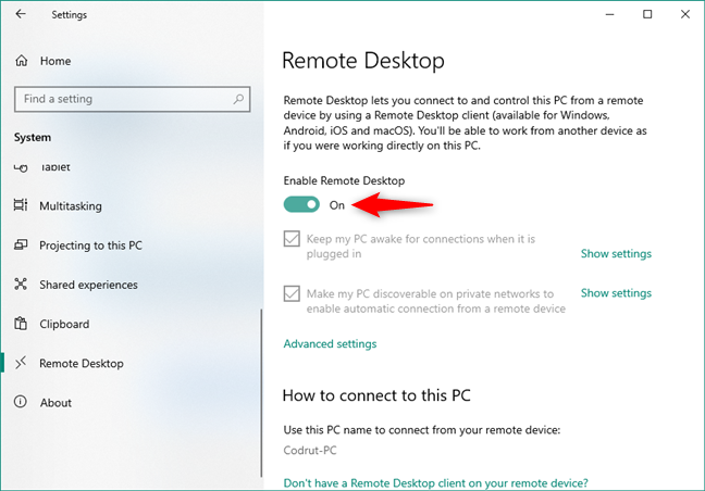 The Enable Remote Desktop switch from the Remote Desktop section