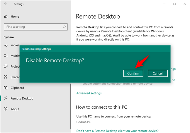 Disable Remote Desktop in Windows 10