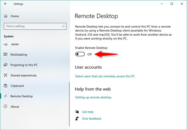 Remote Desktop is turned off in Windows 10