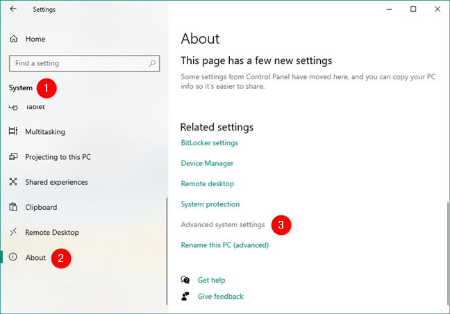 Opening the Advanced system settings in Windows 10