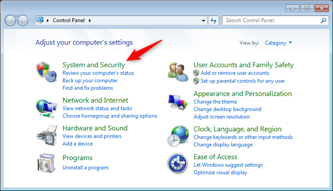 The System and Security settings in Windows 7