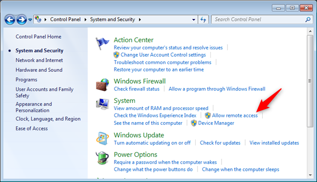 Allow remote access settings in Windows 7