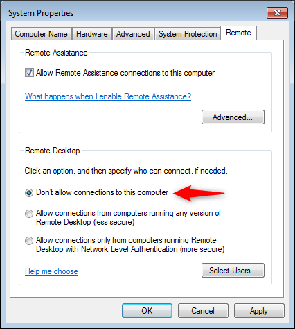 Don't allow connections to this computer