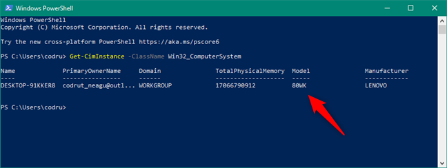 Find PC model in PowerShell: Get-CimInstance -ClassName Win32_ComputerSystem