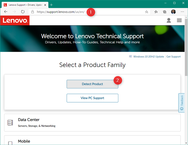 Detect product on your device's support website
