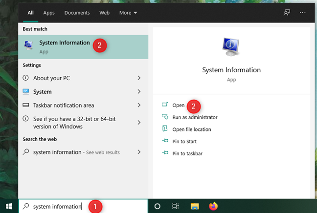 Opening System Information in Windows 10