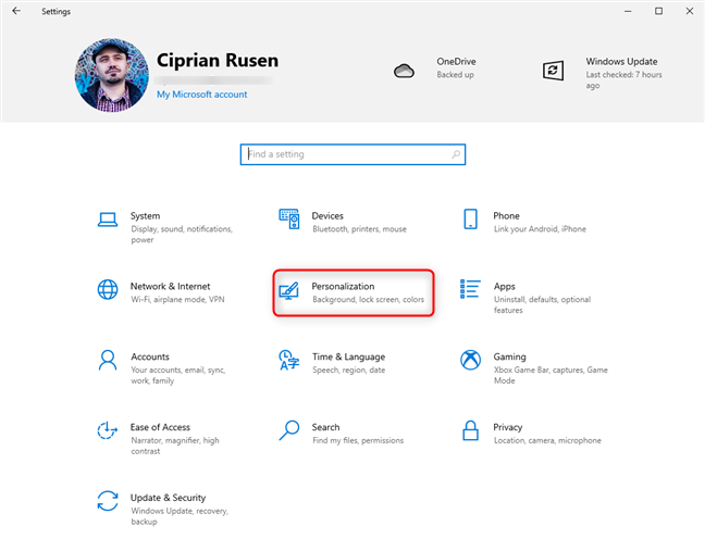 In Windows 10 Settings, go to Personalization