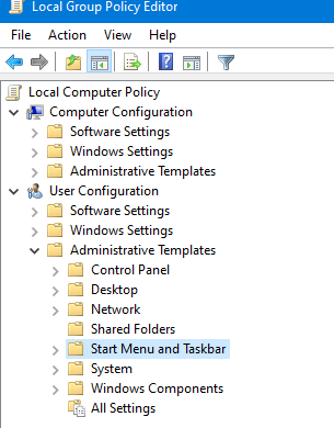 Find the Start Menu and Taskbar policies