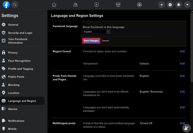 Press Save Changes to enjoy the new Facebook language settings