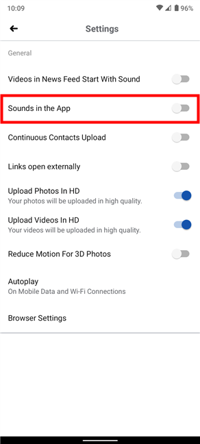 Turn off sounds on Facebook for Android