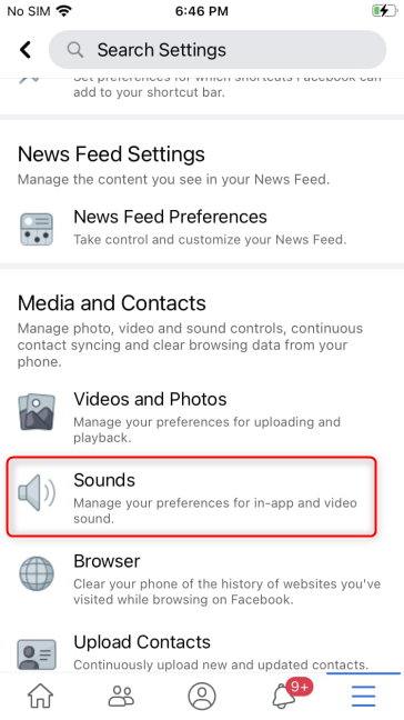 Access Sounds to turn off Facebook sounds