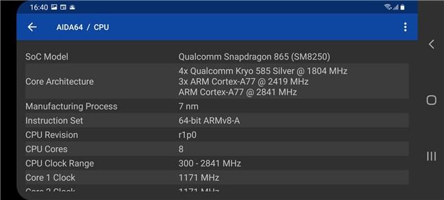 Samsung Galaxy S20 FE 5G: Processor details