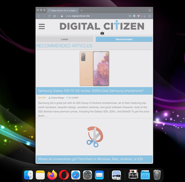 Grab a window or menu in your mac os screenshot
