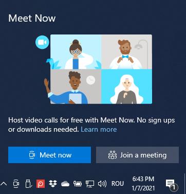 Meet Now options in Windows 10
