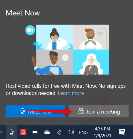 Click or tap Join a meeting