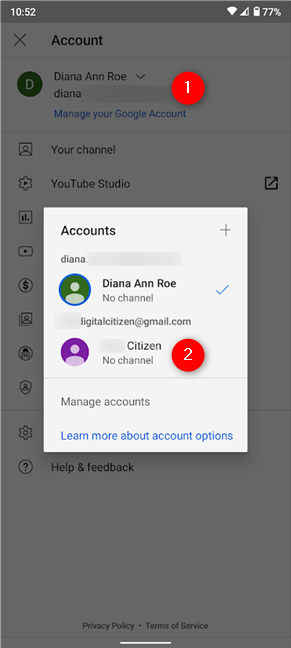 Switch Google Accounts from the pop-up on YouTube